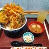 農村レストランつつじ亭 - 料理写真:限定10食!かき揚げ丼&りんごジュース!かき揚げってこんなんでしたっけ?
