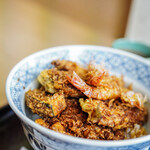 """天松 - """"特製天麩羅飯(とくせいてんどん)""""、小對蝦(さやまき)+柬埔塞瓜(かぼちやうり)"""