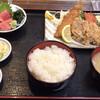 市場食堂 - 料理写真:アジフライと鶏唐揚セット 1,100円(税込)