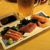 しげきん - 料理写真:2012.10 おまかせ刺身三点盛(320円)