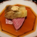 152143412 - 松阪牛のサーロインのしゃぶしゃぶと京都の丸茄子