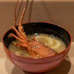 うを徳 - 2021.5 お味噌汁(伊勢海老、蓴菜、加賀太きゅうり)