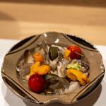 うを徳 - 2021.5 水貝(山口メガイアワビ、日高バフンウニ、信州佐藤錦)