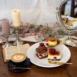リトル ビレッジ カフェ - カスタードプリン、 アメリカンチェリーのチョコスコーンサンド、 アメリカンチェリーのカスタードチーズケーキ