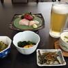 大船渡温泉 - 料理写真:前菜、香の物、お造り