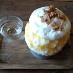 ARCH SHORENJI - 【柑橘ミルク氷:斜めから】 最後まで安定の不気味な色合い写真。 もっと美味しそうに撮りたかったーー。゚(゚´Д`゚)゚。
