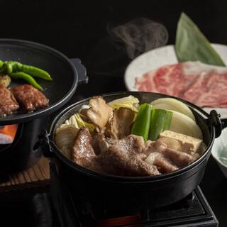 ディナー【近江牛のすき焼きと陶板焼き御膳】