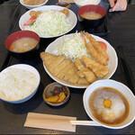 とんかつ料理 さち - チキン&ロース ランチセット+エビフライ