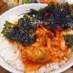 コッテジ - 石焼チーズタッカルビをご飯にかけて韓国海苔を混ぜて