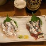 豊田屋 - 2012.10 太刀魚刺(600円)、新さんま刺(400円)