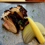 季節料理 あまね - 大山鶏の味噌焼き・新玉葱・ヤングコーン