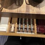 152498764 - 卓上ではなく席の引き出しに箸や薬味が入ってます。