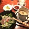 素敵庵 - 料理写真:おつまみにピーナッツ。セットのサラダとスープ。