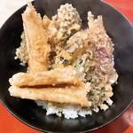茂竹 - 野菜天丼+穴子一本揚げ