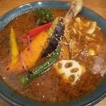 札幌スープカレーJACK - 素揚げした野菜にチキンが旨いベジカレー