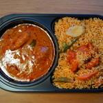 アマラ デリ - 2012.10 チキンとお野菜のビリヤニ(600円)カレーはカシューナッツとトマトのインド宮廷風チキンカレーを選択