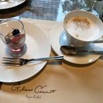 グラスコート - お代わりデザートとカプチーノ