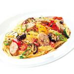サルシッチャとグリル野菜のペペロンチーノ