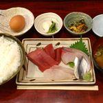 15270956 - つかさ @大岡山 おさしみ(定食) 750円  本日生玉子サービスだそうです