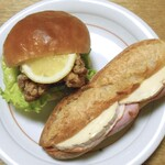 サフラン - 料理写真:大きな竜田バーガー(左)& ジャンボンフロマージュ