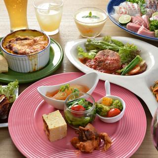 野菜たっぷりの宴会プラン。飲み放題メニューは80種類!