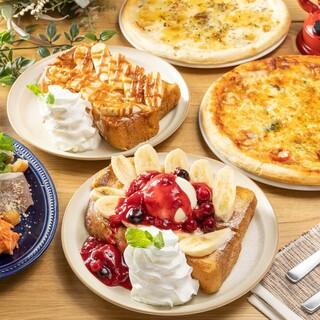 プリン食感のふわっふわフレンチトーストとピザ各種