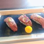 最高級A5神戸牛専門店 銀座 双葉 - 神戸牛炙り寿司