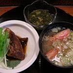 大将寿司 - ブリの煮付け、小鉢、味噌汁