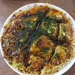お好み焼き 亀八 - 料理写真:そばW肉玉イカ天大葉入り