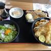 がいな製麺所 - 料理写真:特別定食(海老天2本のせすだちおろしぶっかけうどん がいなTKG   デザート)1060円 と、さぬき盛り440円