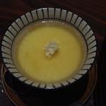 柳庵 - 3000コース2品目、カニとカニみその茶碗蒸し