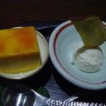柳庵 - 3000コースデザート、かぼちゃプリントサツマイモアイス