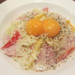 卵料理・ケーキ ダッキーダック - ダブルたまご・パルミジャーノのカルボナーラ(S) 976円