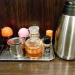 麺屋 うろこ - 卓上の調味料と灰皿
