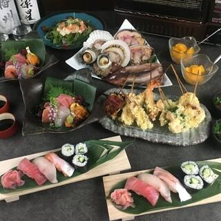 天串と海鮮のコース
