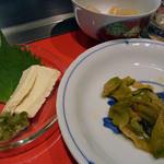 15298577 - ザーサイ、五島の島豆腐の昆布漬け、自家製らっきょ