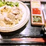 朝挽き鶏 炭火串焼き 牡丹 - 牡丹流アジアンチキンライス