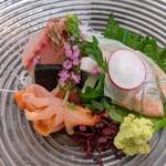 鮨長 - お造り:イサキ、平目、赤貝