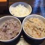 米寿 - 十六穀米・白米・きのこの炊き込みご飯