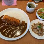 happy - 料理写真:海老カツカレー+豚バラしょうが焼き