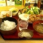 華のれん - 豚バラ生姜焼き定食☆日替わり☆780円(2012/10)