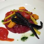 アンビグラム - マグロの冷菜 アンビグラム風 3種類のソース