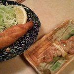 焼鶏館 - アジフライとせせり串です。