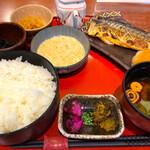 八海山越後屋 - 塩サバ定食 とろろ付き ご飯大盛無料で¥780 満足度、高し!