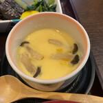 食彩 あさ乃 - アサリの入った茶碗蒸し。 薄め味付けでアサリの風味が際立つ。
