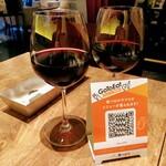153403204 - Fresco Caffe ハウスワインの赤470円×2 これ、かなり大きなサイズのワイングラスなので安く感じました