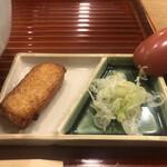 天神房丸新 - 蕎麦のおまけ天ぷらと薬味