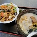 三福源 - 麺飯セット(中華丼+豚骨ラーメン)