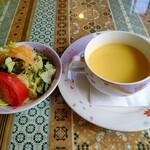 レストランミラベル - 【2021.6.24(木)】チキンカチャトラ980円の野菜サラダとコーンスープ