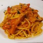 153530591 - 豚肉とパプリカ、新玉ねぎのトマトソース スパゲッティー